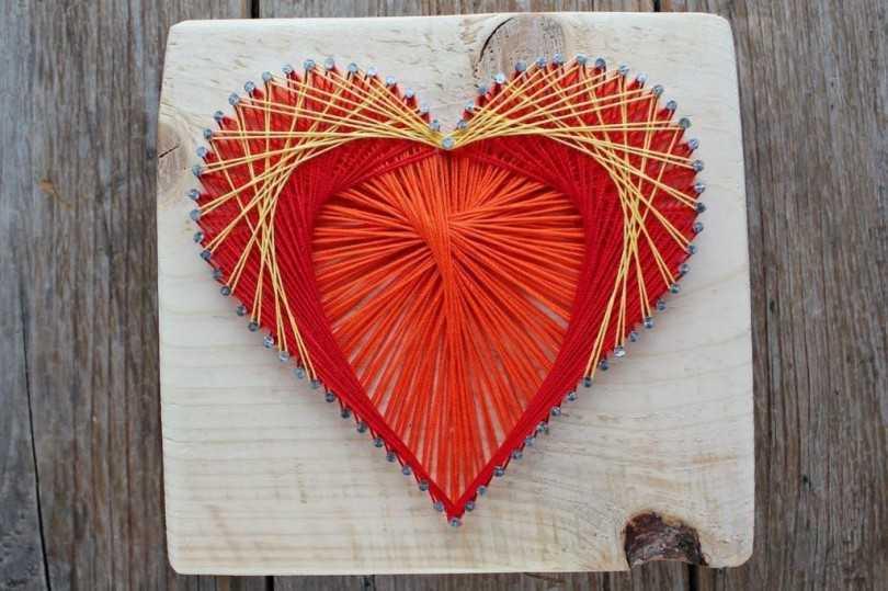 Открытка сердечко из ниток