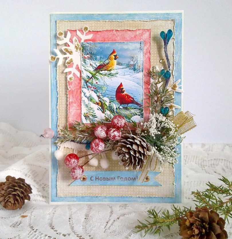 Скрапбукинг открытки новый год и рождество, новым годом
