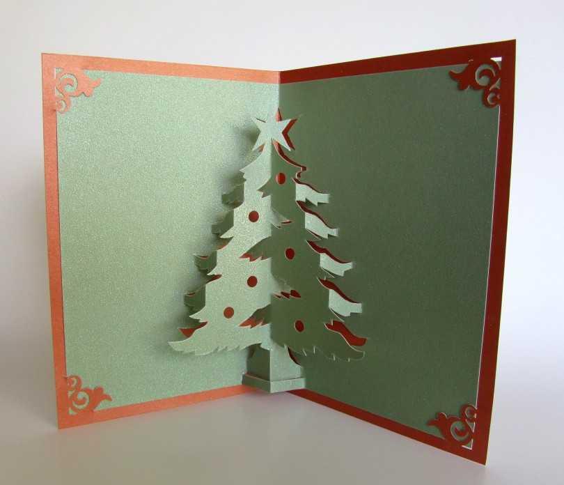 Объемная открытка с елочкой внутри своими руками