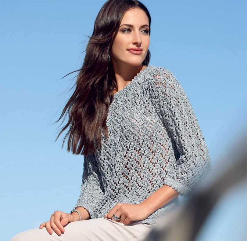 красивый свитер с ажурными узорами фото